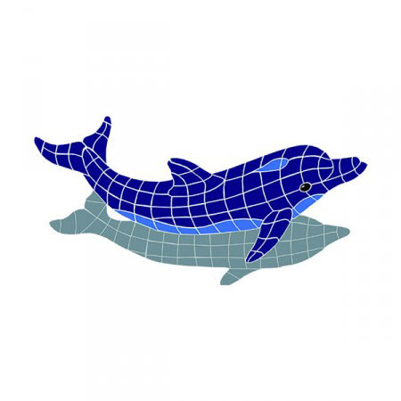 Jumping Dolphin with shadow ceramic mosaic picture