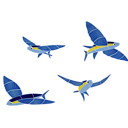 Flying Fish set of four ceramic mosaic picture
