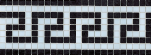 Greek Key Black and White patterned waterline tile band