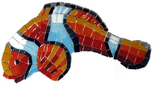 Glass Mosaic picture of a red striped clown fish