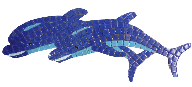 Glass Mosaic picture of twin dolphins