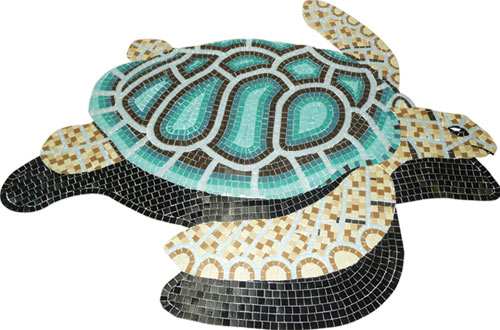 Glass Mosaic picture of a green loggerhead turtle