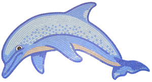 Glass Mosaic picture of a happy dolphin