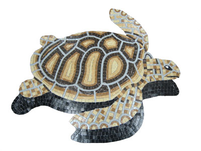 Glass Mosaic picture of a brown loggerhead turtle