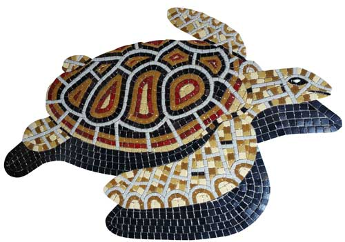 Glass Mosaic picture of a red and brown loggerhead turtle