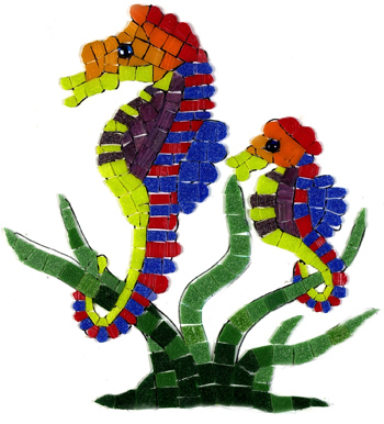 Glass Mosaic picture of 2 seahorses and some seaweed