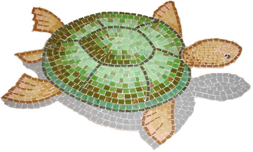 Turtle mosaic with shadow