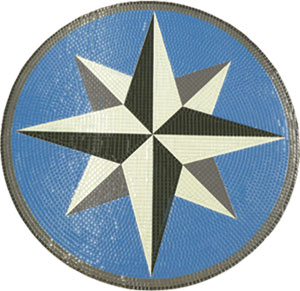 Glass Mosaic picture of compass