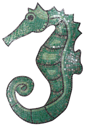 Glass Mosaic picture of a green seahorse