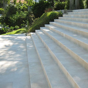 Crema Limestone Antique tiles as staircase and outdoor paving tilespool surround
