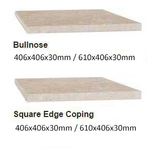 Travertine Linen Honed Filled coping profiles