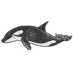 Orca ceramic mosaic picture