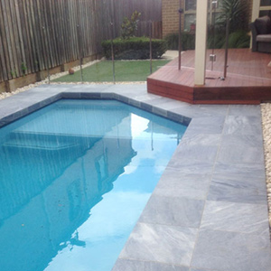 Parisian Blue Limestone Tiles and Pavers in place