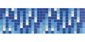 Click for more information and photos of GB900 Waterfall glass mosaic waterline tiles