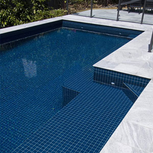 CMC098 Ocean Blue ceramic tiles shown in place