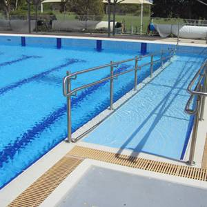 Serapool pool tiles, channels, finger grips and grates used in large Australian pools