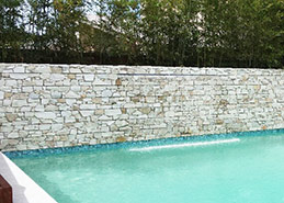 Feature Wall beside swimming pool