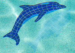 Dolphin jumping mosaic mural on bottom of pool