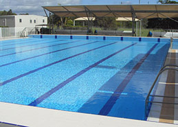 Olympic pool tiling including grates, handles and pool-deck tiles