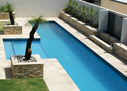 Stone paving tiles around pool