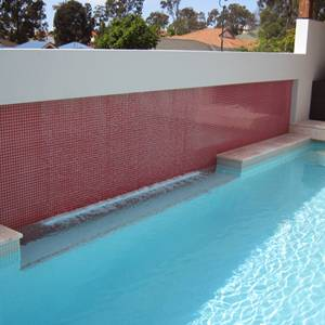 GCR235 Red 23mm Crystal mosaic pool tiles used to tile water feature wall