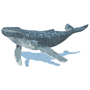 Grey and Blue Humpback whale mosaic picture hand cut glass